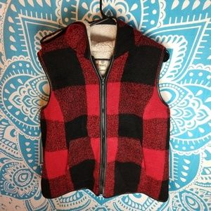 Sherpa Red Plaid Fuzzy Vest with Hood XL Ruff Hewn